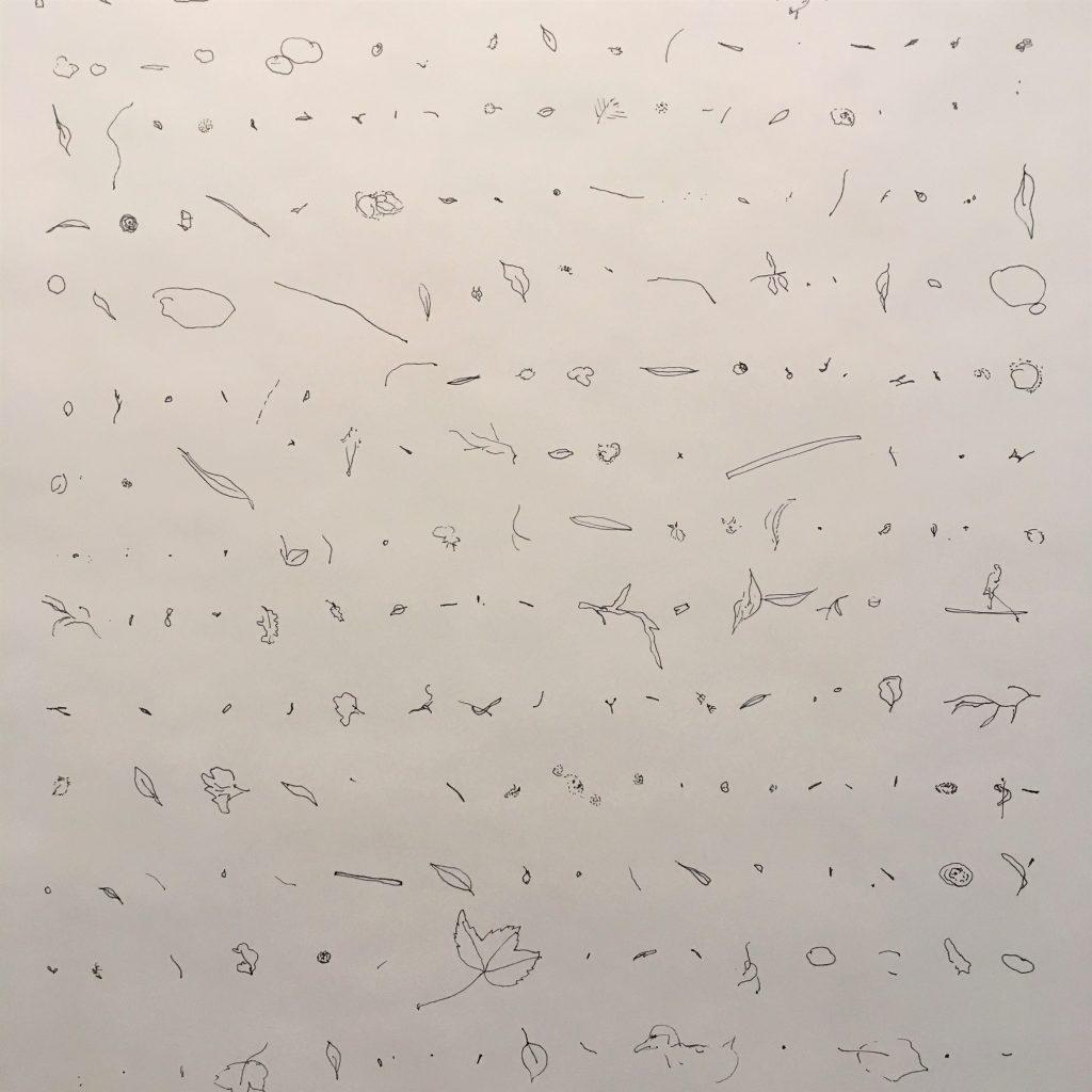 Susanne Kocks, Treibgutliste Donau I, 20.07.2018, Tinte auf Papier, ca. 640 x 70 cm